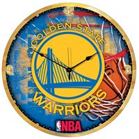 "Picture of Golden State Warriors Plaque HD Clock 18"" Dia"
