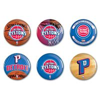 """Picture of Detroit Pistons Button 6 Pack 2"""" Round"""