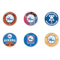 """Picture of Philadelphia 76ers Button 6 Pack 2"""" Round"""