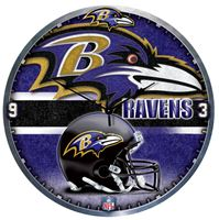 "Picture of Baltimore Ravens Plaque HD Clock 18"" Dia"