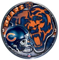 "Picture of Chicago Bears Plaque HD Clock 18"" Dia"