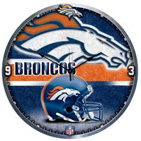 "Picture of Denver Broncos Plaque HD Clock 18"" Dia"