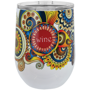 Picture of White 12 oz. Sublimatable Polar Camel Stemless Wine Tumbler with Lid